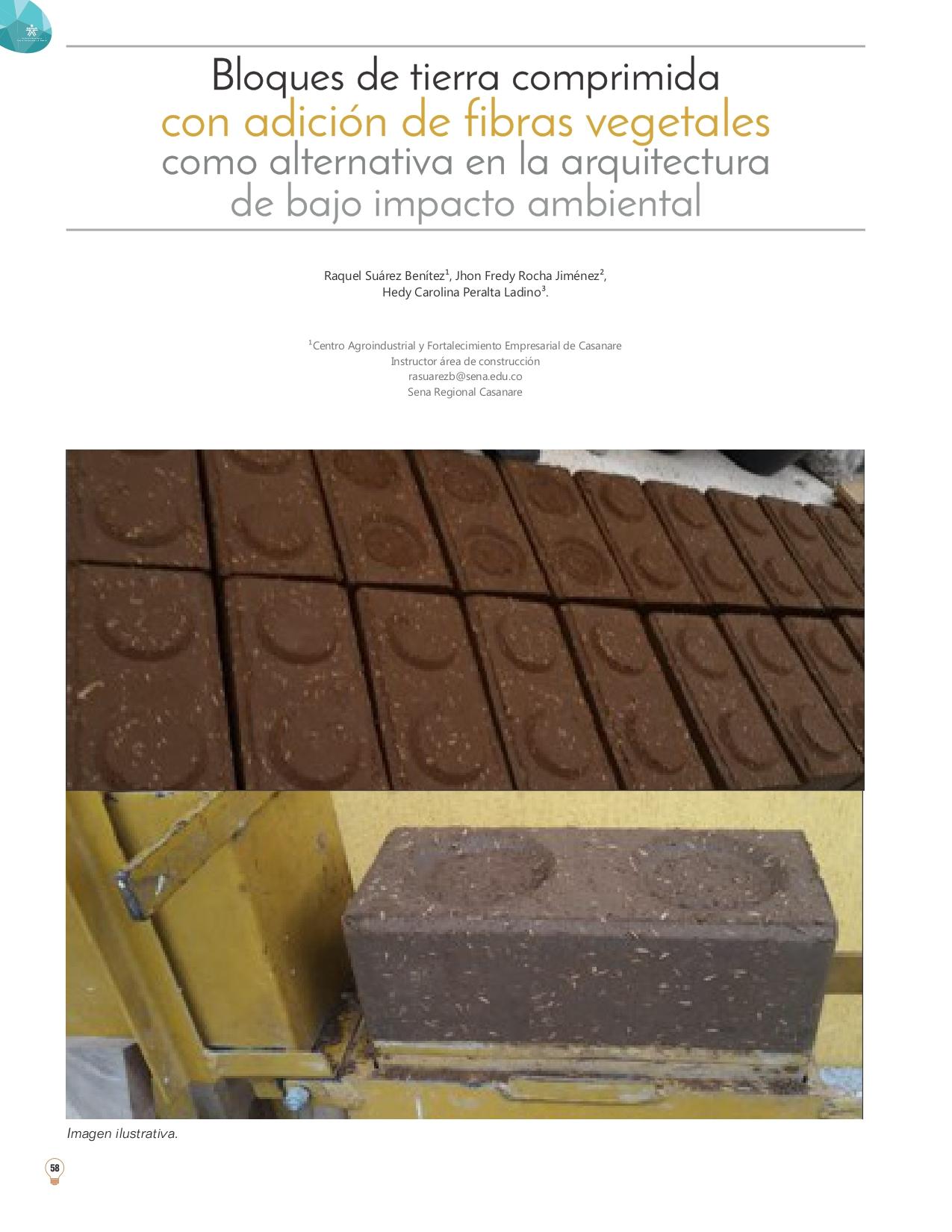 Bloques de tierra comprimida con adición de fibras