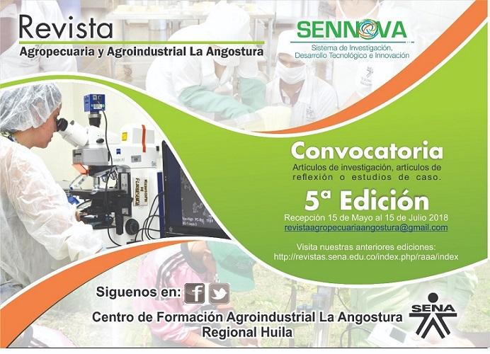 La revista Agropecuaria y Agroindustrial La Angostura se propone divulgar la labor que en el campo de la investigación aplicada, el desarrollo tecnológico y la innovación, nuestra institución realiza con proverbial consagración. De manera silenciosa, inst